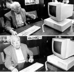 Юрий Никулин за компьютером в 1995 г